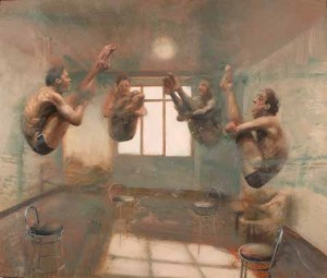 Nicola Pucci. Interior with divers 2013. Oil on canvas. 63x74 inches. Andipa Gallery London.