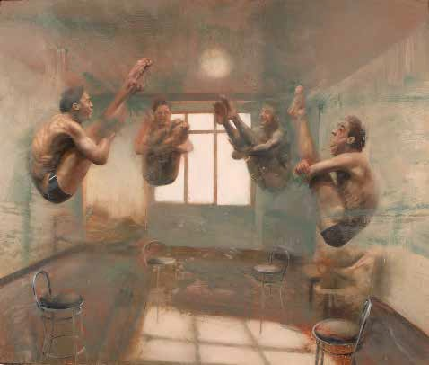 ARTICLE Nuova Wave. Nicola Pucci. Interior with divers 2013. Oil on canvas. 63x74 inches. Andipa gallery london